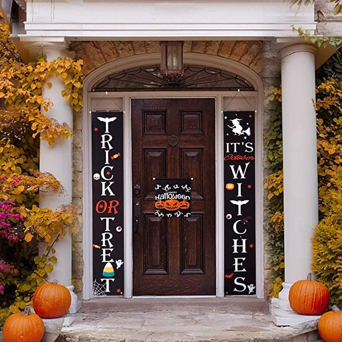 HBlife Halloween Decorations Outdoor Trick or Treat /& Its October Witches Halloween Banner for Front Door or Indoor Home Decor Porch Decorations