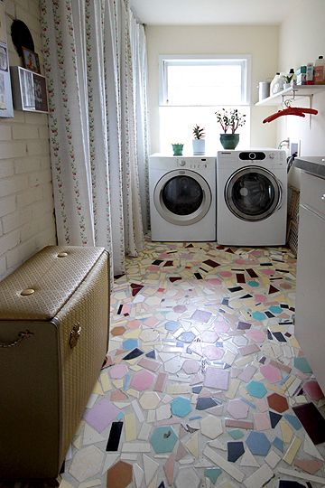 104 best broken bits mosaics images on pinterest mosaic for Laundry room floor ideas