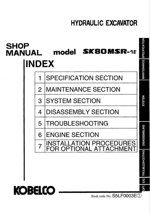 Kobelco Sk80msr  Sk80cs Excavator Service Manual