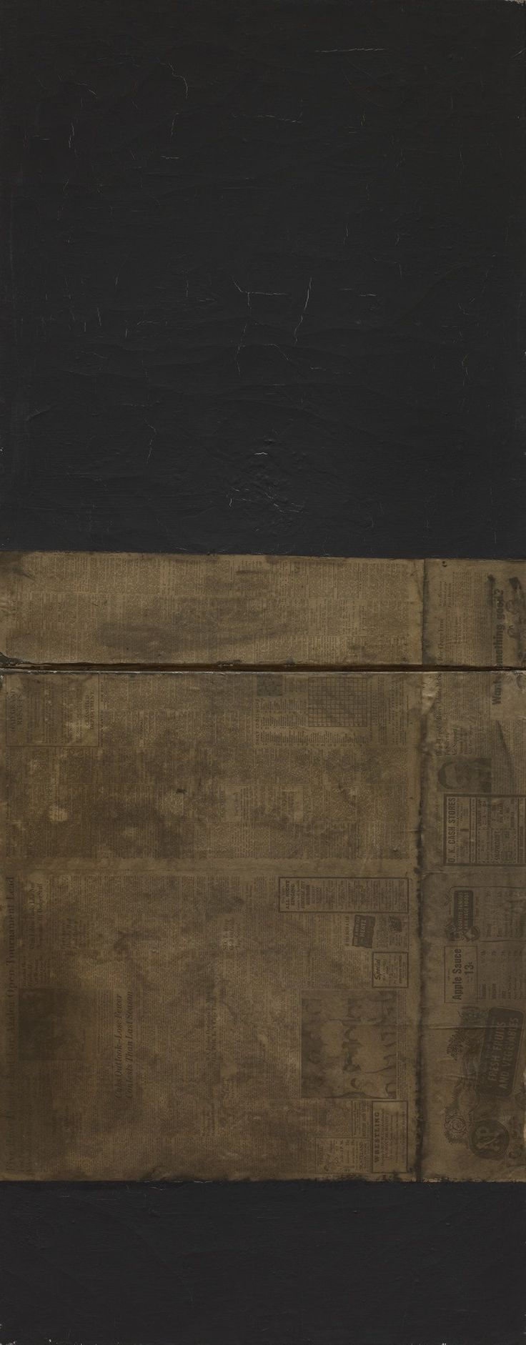 "Rauschenberg made this work from two identical canvases, matte black paint, and a sheet from the August 3, 1951, issue of the Asheville Citizen newspaper. Asheville, North Carolina, is near Black Mountain College, where Rauschenberg was a student in an experimental arts program in the late 1940s and early 1950s. He considered this and his other black paintings to be ""visual experiences . . . not Art"" and refuted the symbolic associations of his color choice. Despite its sideways orientation…"