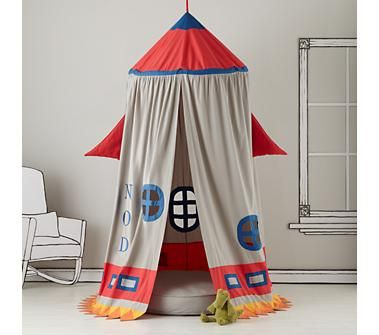 Kids Play Tents: Rocket Ship Play Tent wouldn't be hard to make.  Hula hoop, string and fabric.