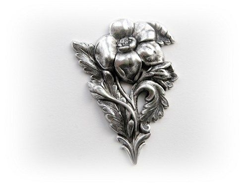 1 - Large Victorian Flower With Stem Silver Ox Brass Jewelry Finding (F)