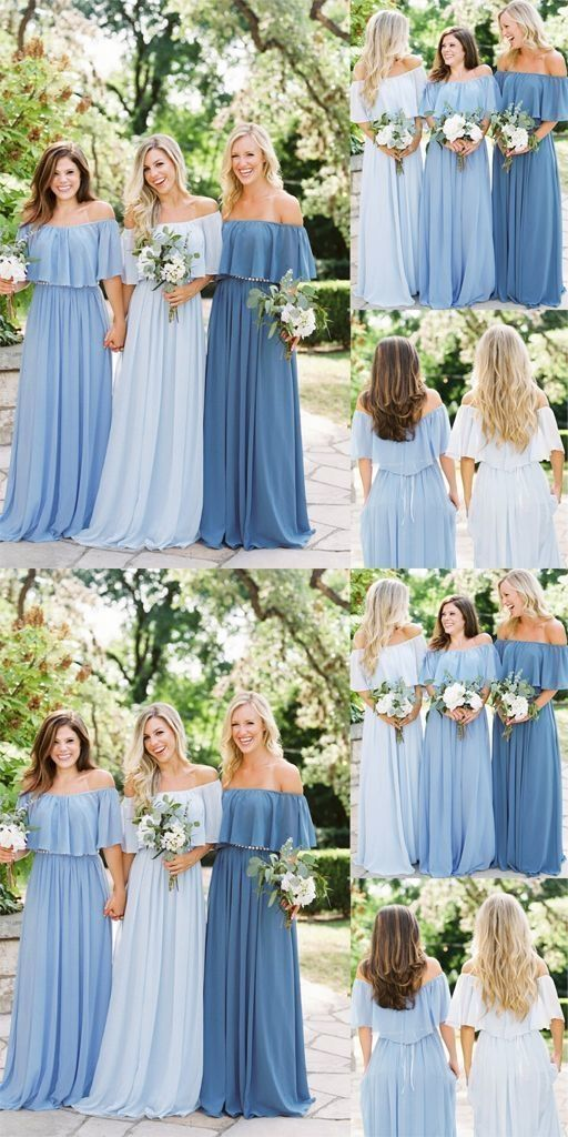 5626c0eb9a4 Beautiful Bridesmaid Dresses Off-the-shoulder A Line Long Chiffon Boho  Bridesmaid Dresses JKB079 in 2019