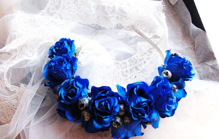 Blue roses  Flower Bridal flower crown Floral wedding crown Wedding flower heapiece Wedding flower crown Boho wedding (25.00 USD) by BarbarisAccessories