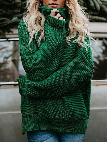 Christmas Sweater! Oh la laa! Christmas Day fashion inspiration! Chicnico Fashion Casual Solid Color Sweater –