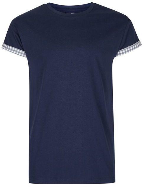 Topman Navy Gingham Muscle Roller T-Shirt