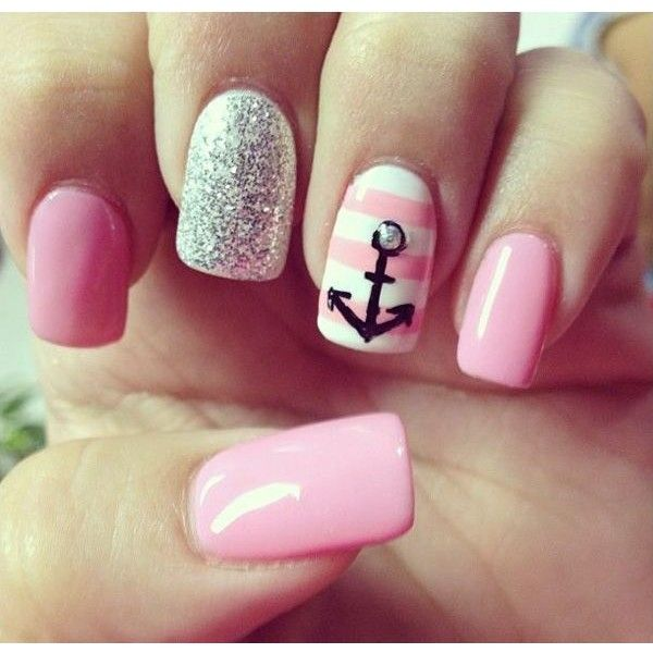 60 Cute Anchor Nail Designs ❤ liked on Polyvore featuring nails