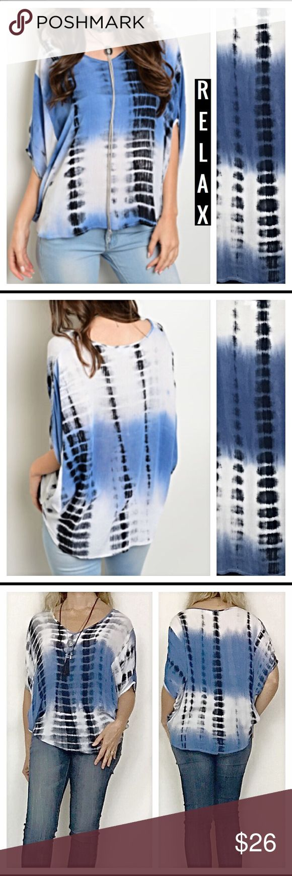 Relax soft tie dye hi low dolman v neck top S M L Relax in style in this adorable hi low tie dye dolman sleeve top in Ivory  black  amp  blue   Flowy Woven 100  rayon  Measurements laying flat  Small Chest 27 quot  Front length 24 quot  Back Length 26 quot   Medium Chest 28 quot  Front Length 24 5 Back Length 26 5  Large Chest 29 quot  Front Length 25 quot  Back Length 27 quot  Tops