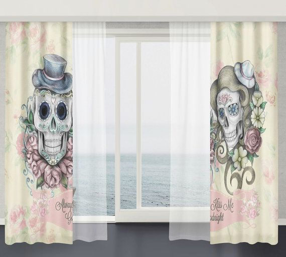 "http://tidd.ly/e2df5b81 Sugar Skull Curtains Chiffon Sheers Two Sizes ""Always Kiss Me"""