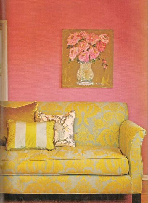 colored grassclothWall Colors, Colors Combos, House Design, Home Interiors, Living Room Design, Interiors Design, Pink Wall, Yellow, Design Home