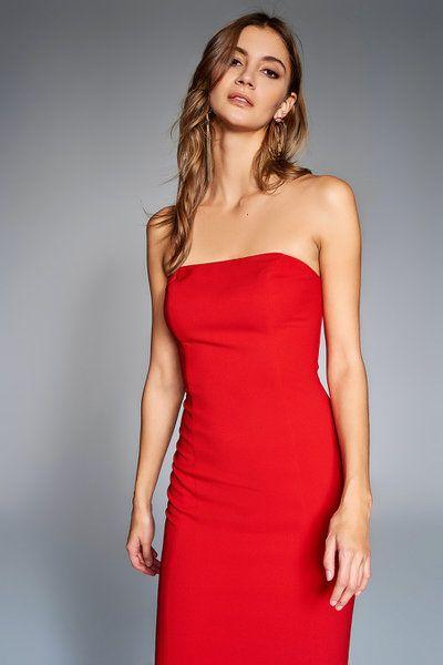 Trendyolmilla Kirmizi Straplez Elbise Elbise Elbise Modelleri Elbiseler