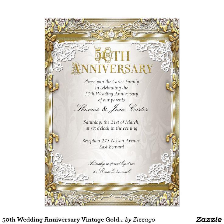 50th Wedding Anniversary Vintage Gold Beige Photo Card