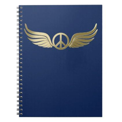 Metal look peace symbol with wings notebook - metal style gift ideas unique diy personalize