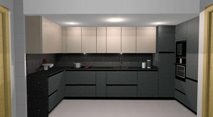 Combinación de muebles en roble gris con veta horizontal y lacado en