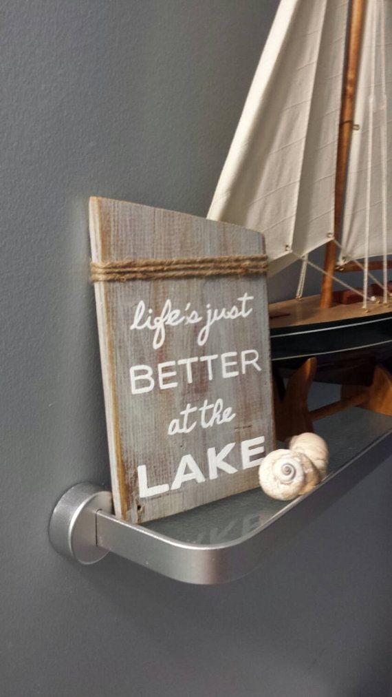 Nautical Decor idea. Lake House Sign Buy on Etsy https://www.etsy.com/ca/listing/247357504/rustic-lake-house-wall-art-cottage-chic