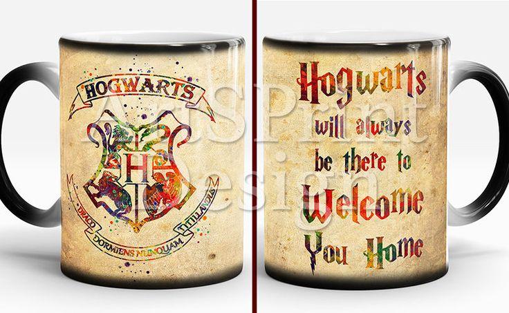 Hogwarts Crest Quote Mug Harry Potter Mug Watercolor Color Changing Coffee Mug