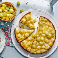 Gooseberry and elderflower tart - gingernuts, creme fraiche