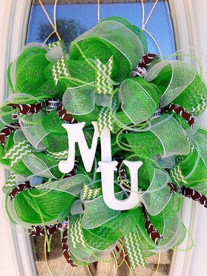 Go Marshall University!!! This is a Marshall University MU Wreath for the Marshall fans out there. It is made mainly from green and white deco mesh