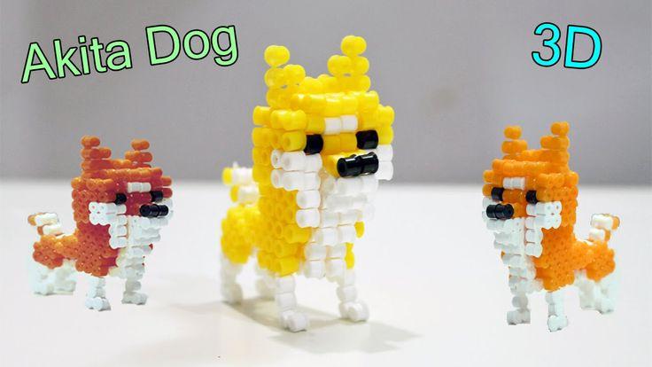 Cane Akita 3D con Hama Beads/Perler Beads 3D Dog Akita /Puppy Animals