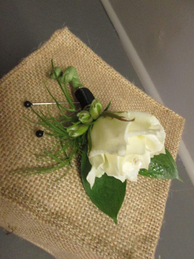 Black & White Boutonniere Petalessence Flowers, Listowel, Ontario