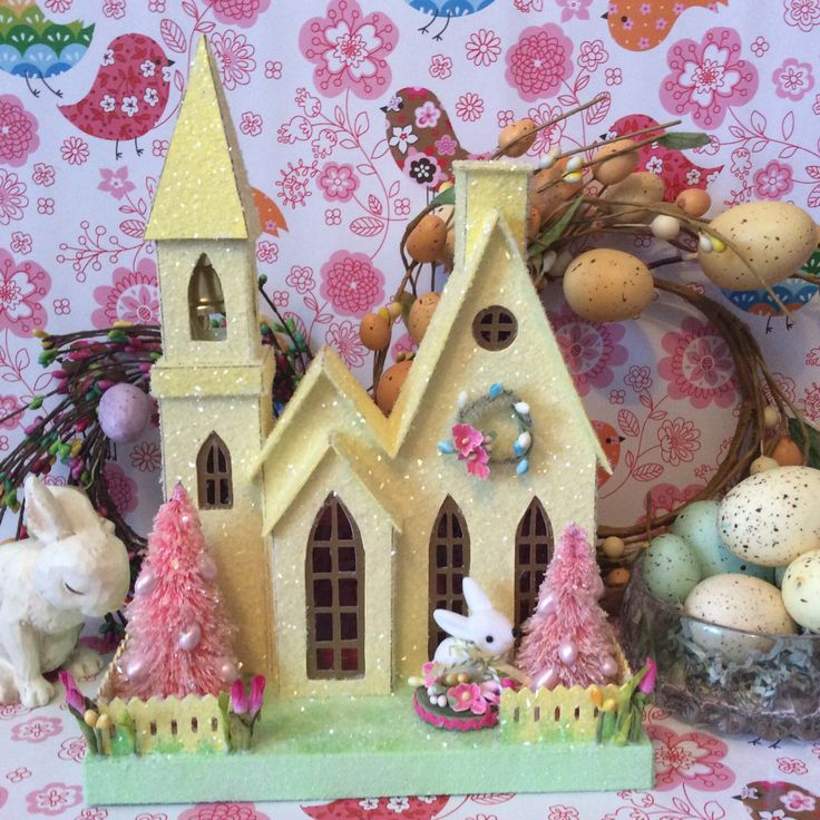Putz Easter Glitter House (Large)in Yellow by glitteratmidnight on Etsy https://www.etsy.com/listing/224817854/putz-easter-glitter-house-largein-yellow