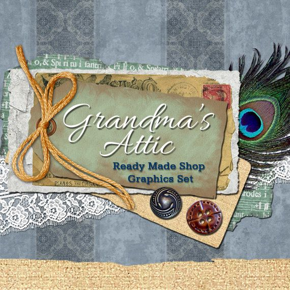 Vintage Style Custom Banners, Avatars, Business Card, Logo Label & More - Ready Made Shop Graphics Set, 9 Premade Files - GRANDMA'S ATTIC on Etsy, $9.00