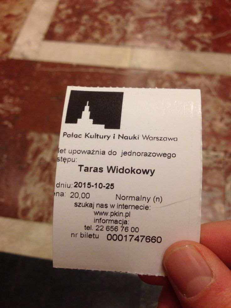 Ticket to palac kultury Warsawa Poland