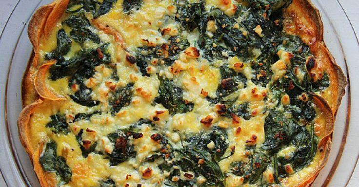 Quiche s křupavou batátovou krustou a sýrovo – špenátovou náplní