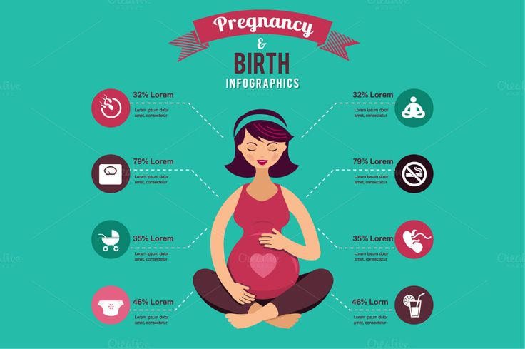 Pregnancy and birth infographics by Marish on Creative Market