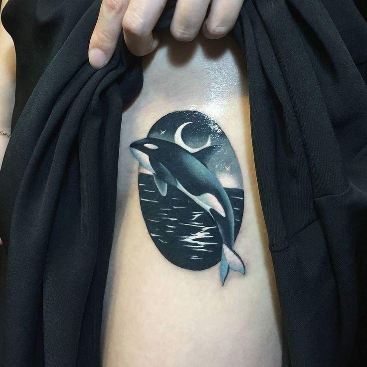 Killer Whale by @sj_tattoo in Hongdae South Korea. #whale #killerwhale #moon #ocean #sjtattoo #hongdae #southkorea #tattoo #tattoos #tattoosnob