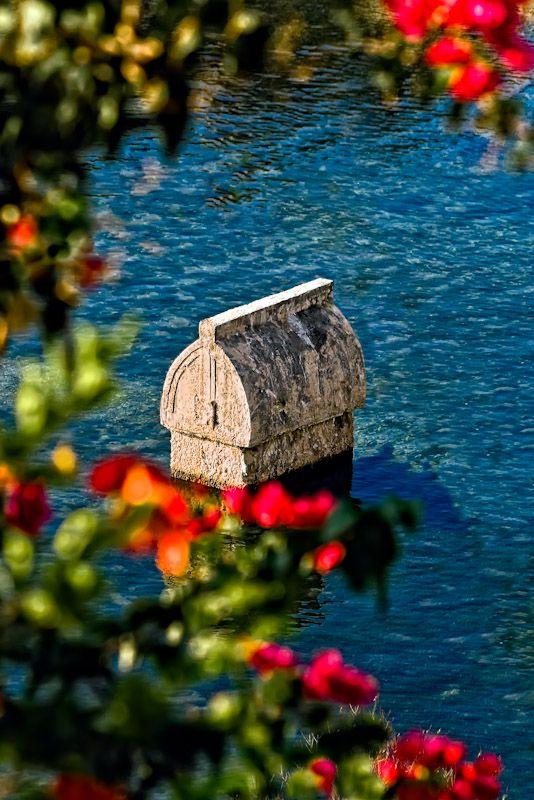 Lycian tomb in the sea,Antalya,Turkey