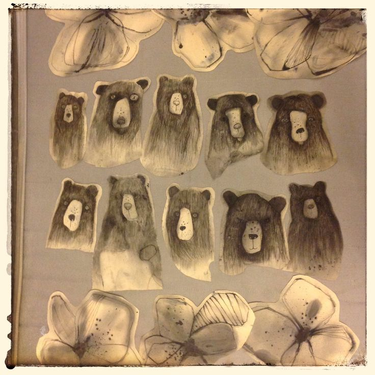 #olgadynkina #fashion #bear #art #painting #print #process #animals