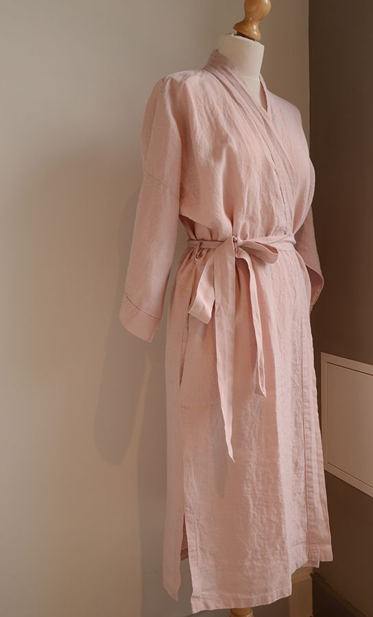 cb29cf0df4 Pale pink linen robe from the nightwear collection at Natural Bed Company