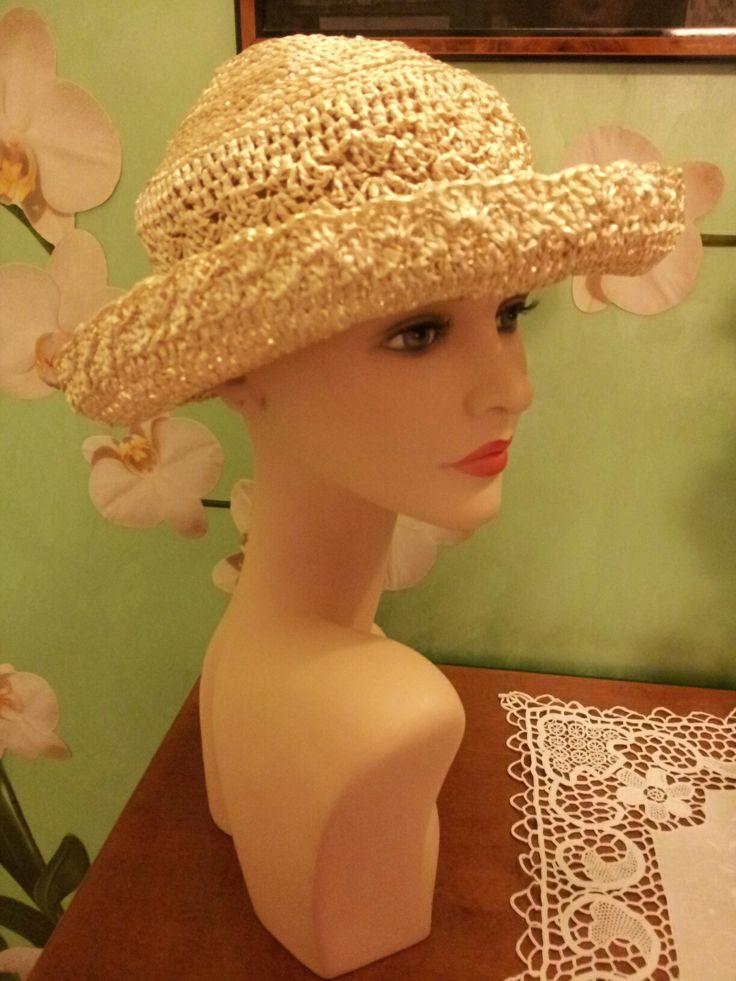 Cappello uncinetto estivo in rafia vegetale 100% (beige)