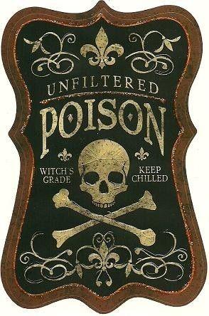 Halloween poison label for potion jars.