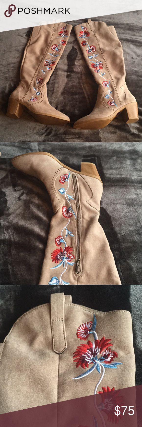 Carlos Santana Boots NWOT Gorgeous embroidered suede Carlos Santana Alexia Boots. Brand new never worn. Side zipper Carlos Santana Shoes Heeled Boots