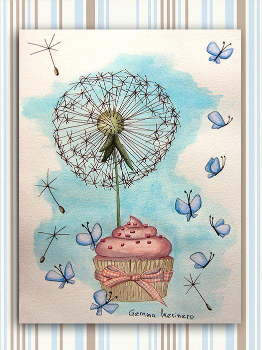 Mariposas  cupcake y diente de león. (Gemma Merinero)