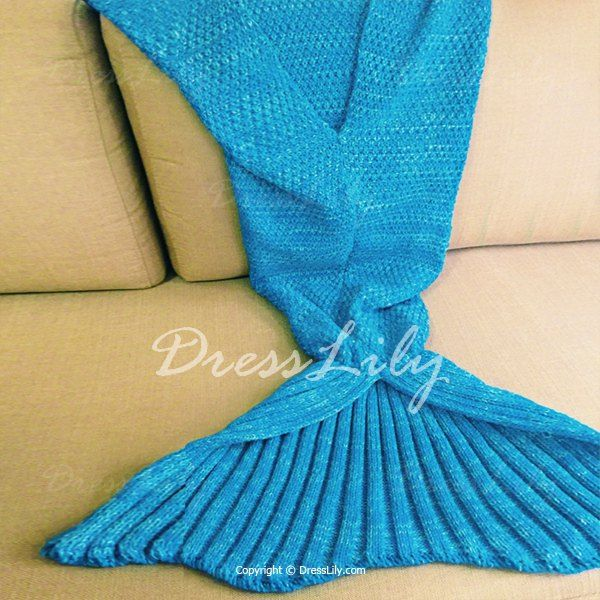 Chic Knitted Women's Warm Fishtail Blanket, WATER BLUE, ONE SIZE(FIT SIZE XS TO M) in Blankets & Throws   DressLily.com
