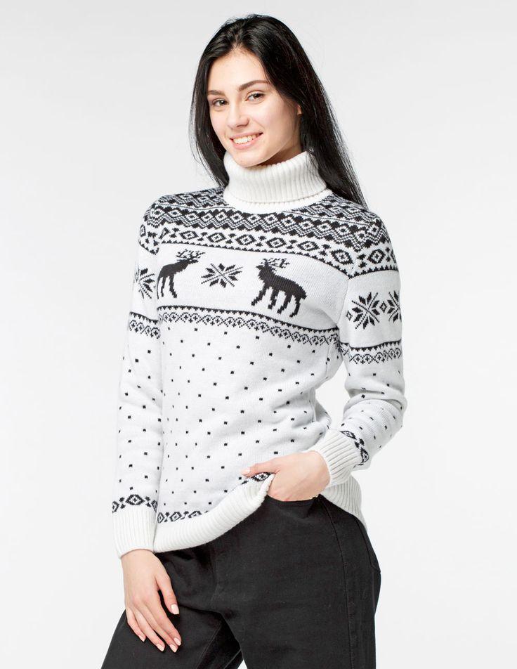 Купить женский свитер с оленями - tepliezveri.ru