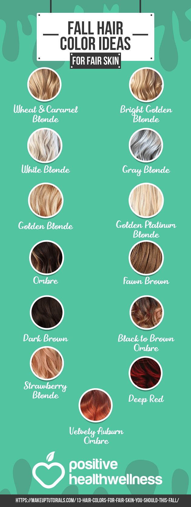 13 Fall Hair Color Ideas For Fair Skin – Positive Health Wellness Infographic