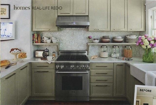 chevron tile raised cabinet with shelf  kitchens