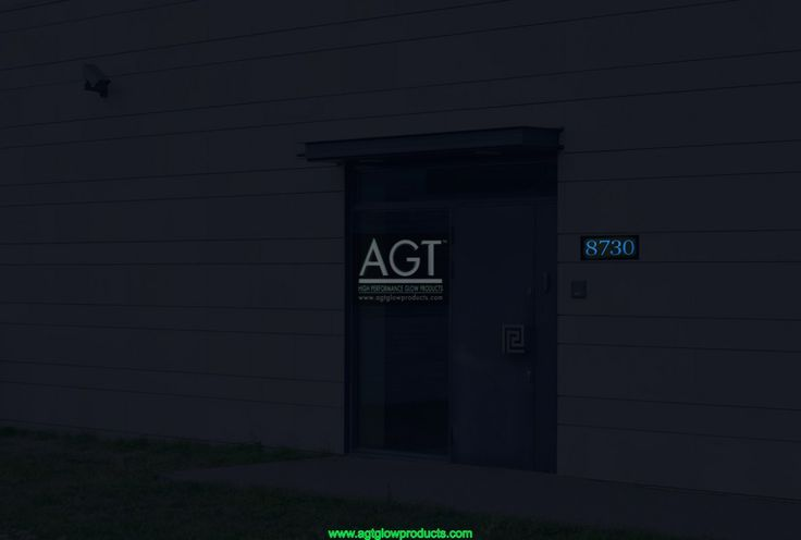 SKY Blue colored AGT Glowing House Number on modern Home - NIGHT_8730