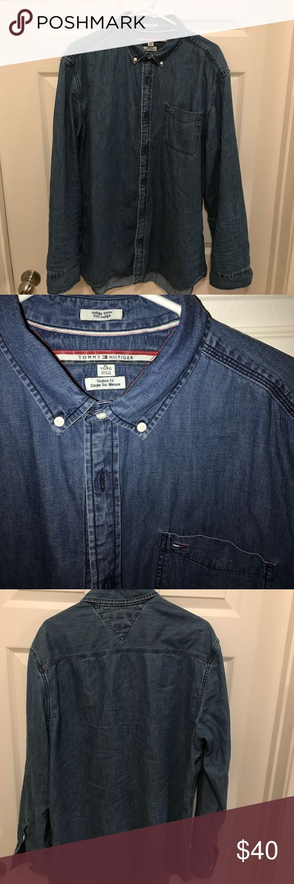 Tommy Hilfiger Denim Shirt XL Long sleeve Tommy Hilfiger denim shirt. Worn twice washed once. Selling because it doesn't fit me I found a 2X like 6 months later so I couldn't return this one to store. Paid $80 asking for $40 or best offer Tommy Hilfiger Shirts Casual Button Down Shirts