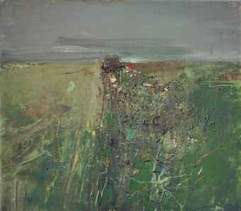 Joan Eardley - Between the Fields of Barley, Catterline, 1960, oil on board, grasses, seedheads, clover and cow parsley, 122 x 137.7 cm.