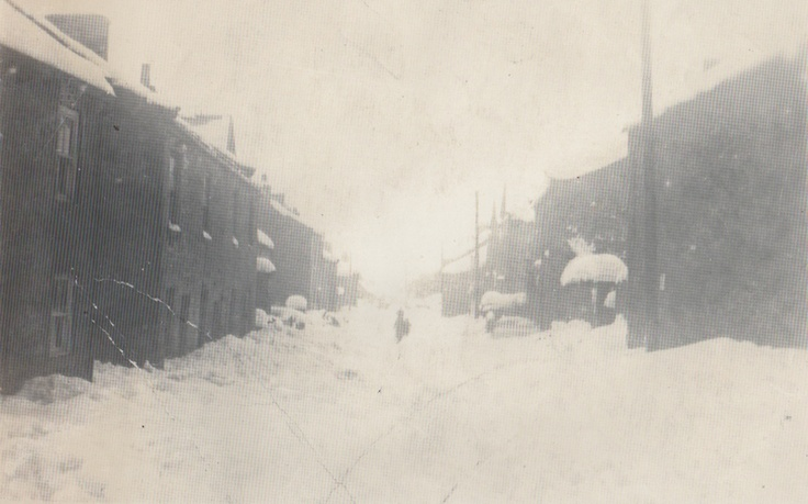 A view of West Witton from the shop during the snow storm in 1933. The street hasn't changed a bit!