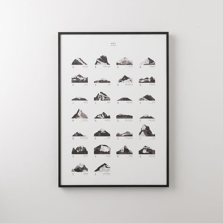 A mountain for every letter of the alphabet. Each mountain is rendered using differing line weights and visual textures, while elevation and geographic location are listed underneath. Framed in Portland.