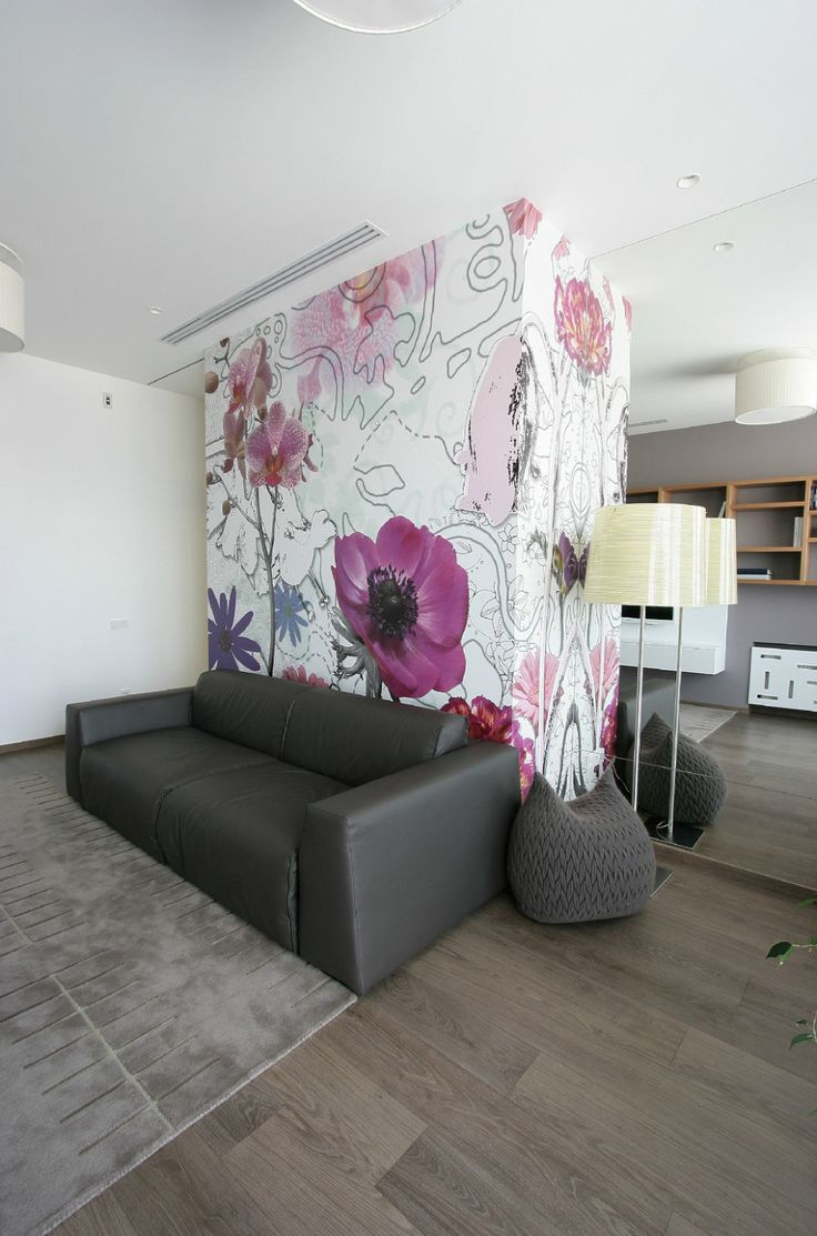 Apartments:Charming Interior Design With Floral Wallpapers Also Black Sofa Floor Lamp Wooden Flooring Also Pendant Lamps With Large Wall Mirror For Modern Apartment Living Room Ideas Also Decorating Living Room And Apartment Design Ideas Glowing white Interior Design Ideas for Modern Apartment Living Room Ideas