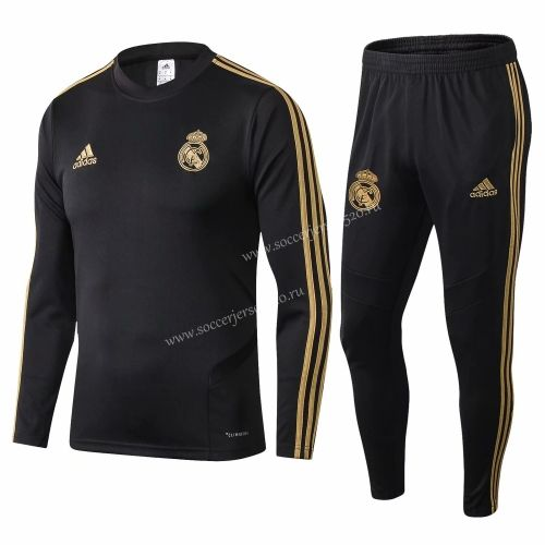 2019 20 Real Madrid Black Thailand Soccer Tracksuit Uniform 411 Real Madrid In 2020 Tracksuit Real Madrid 20th Clothing