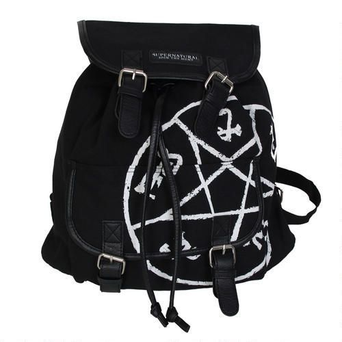 """""""You'll feel like you're part of the hunt when you use this Supernatural backpack featuring the anti-possession symbol!"""" really WB? that's a demons trap! not the anti possession symbol"""