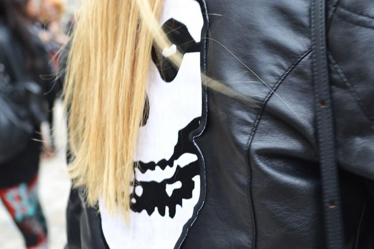 Embellished leather jacket with Skull
